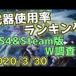 モンハン武器使用率ランキング!!PS4&Steam版のW調査(2020/3/30版)【MHWI】