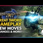 Monster Hunter Rise | New GREAT SWORD Weapon Gameplay – New Moves, Changes & Silkbind Attacks
