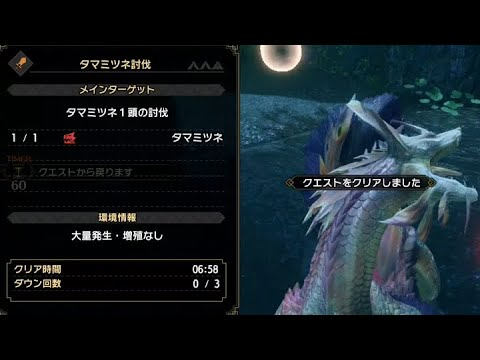【MHRise体験版】タマミツネ 双剣 6分58秒 罠、爆弾なし/Mizutsune Dual Blades