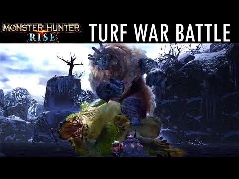 Monster Hunter Rise TURF WAR BATTLE GAMEPLAY COMBAT TRAILER GOSS HARAG モンスターハンターライズ 縄張り戦争 ゴシャハギ ヨツミワ